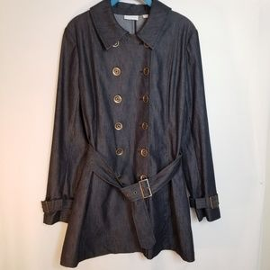 New York & Company dark blue denim coat.